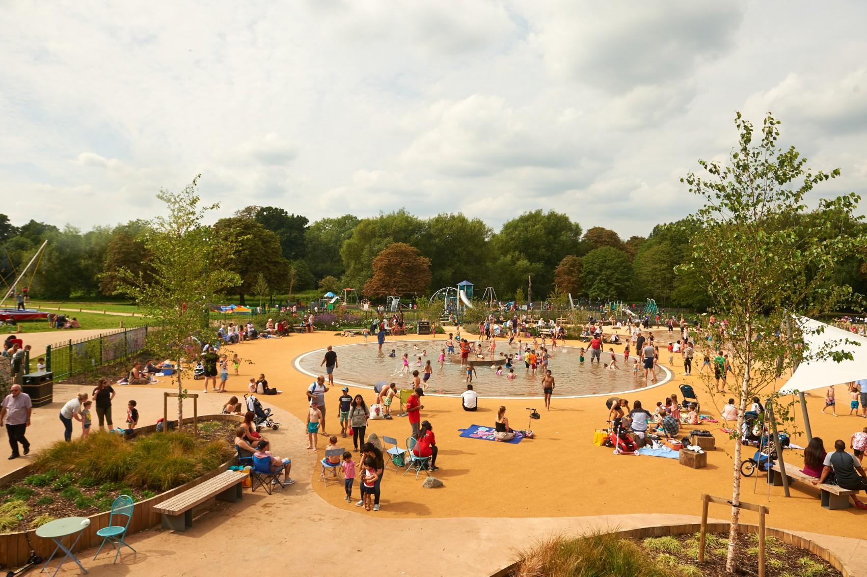 Elevated shot of busy Cassiobury Park, Watford (CGI)