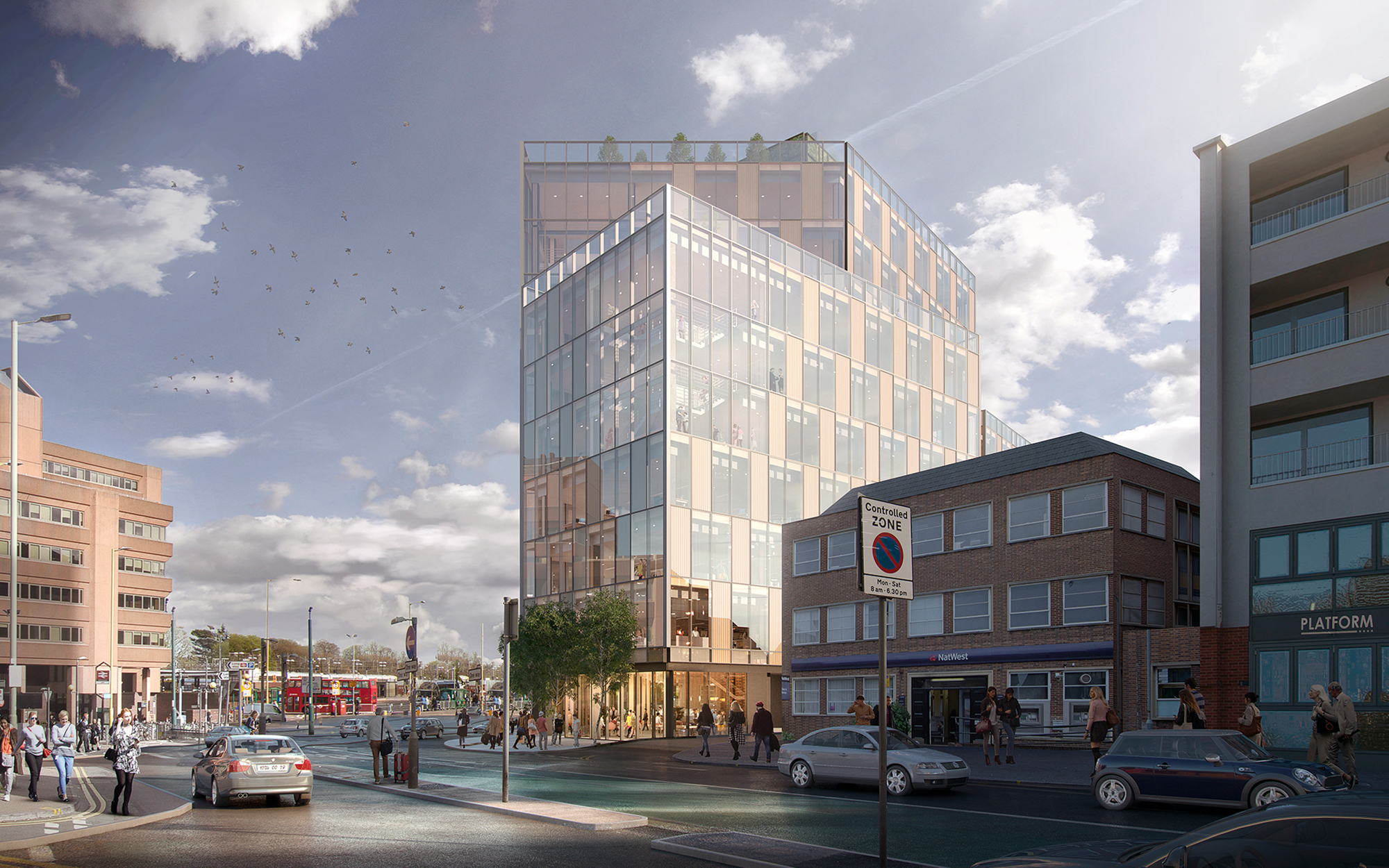 Future townscape: View of TJX Europe Head Office from Clarendon Road, Watford (CGI)