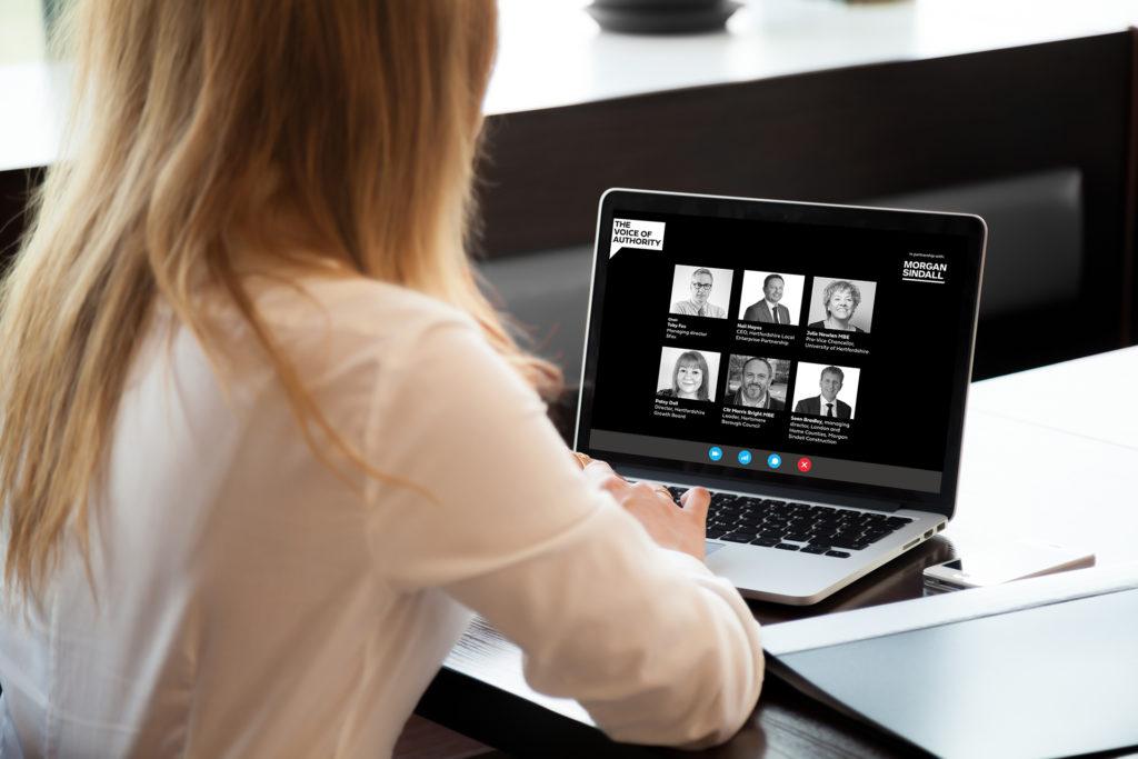 Lady watching HGB Webinar on laptop