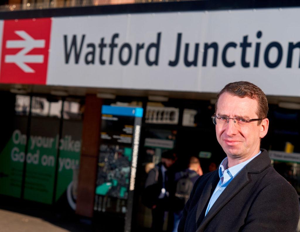 Mayor of Watford outside a Watford Junction tube station