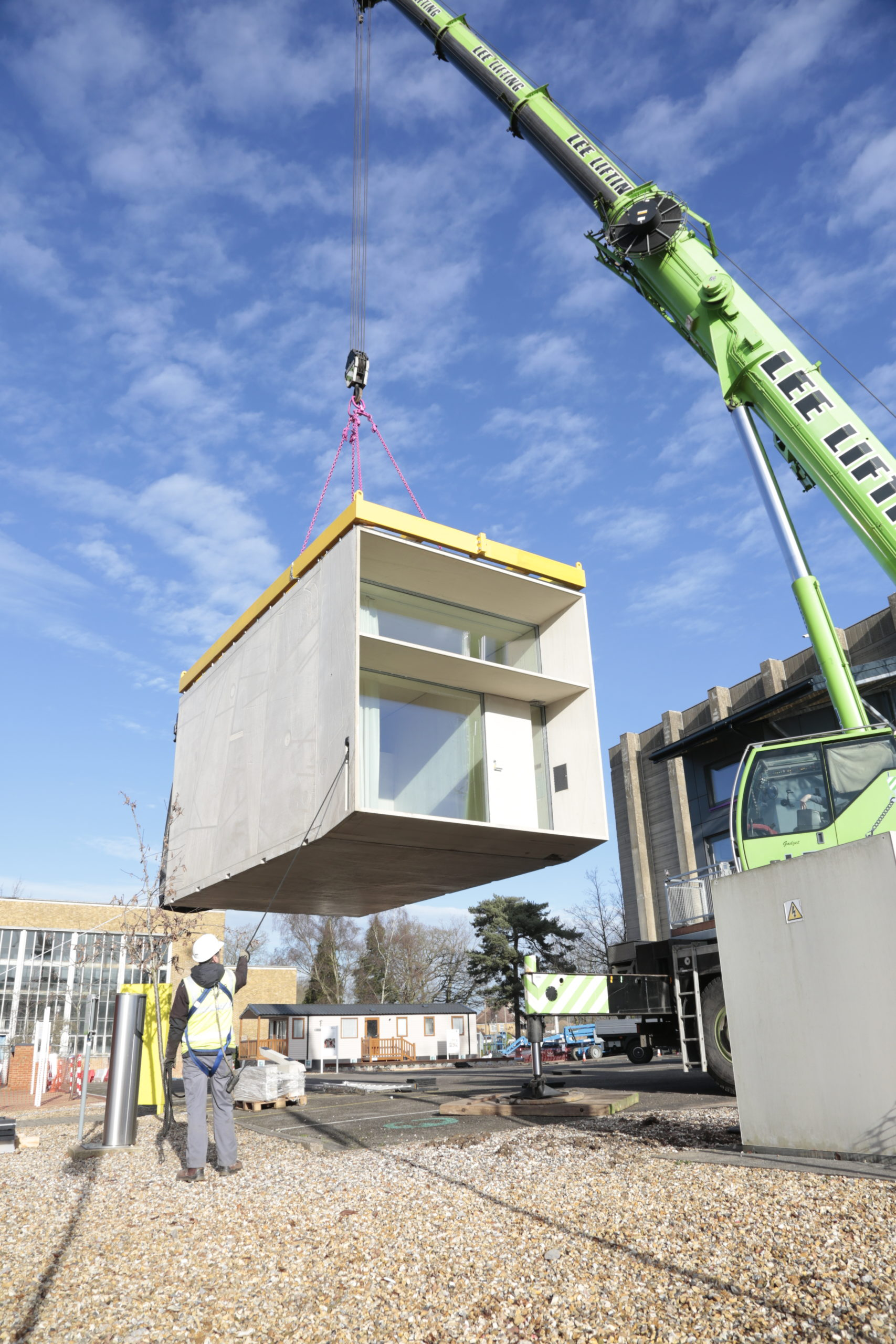 construction image of a prefabricated home