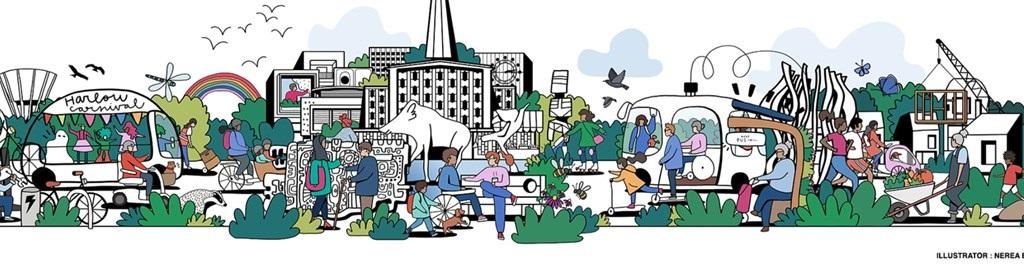 artist impression of Harlow garden town